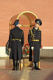 Change of the Guard of Honor at the tomb of the Unknown Soldier at the wall of Kremlin. MOSCOW, RUSSIA Royalty Free Stock Image
