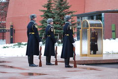 Change of the  guard of honour. At the Tomb of the Unknown Soldier at the walls of the Kremlin in Russia, Moscow Royalty Free Stock Image