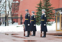 Change of the  guard of honour. At the Tomb of the Unknown Soldier at the walls of the Kremlin in Russia, Moscow Stock Photos