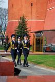 Change of the guard of honour, Moscow. MOSCOW - APRIL 23: Change of the Guard of Honour at the tomb of the Unknown Soldier at the wall of Moscow Kremlin on April Stock Photography