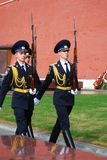 Change of the guard of honour, Moscow. MOSCOW - APRIL 23: Change of the Guard of Honour at the tomb of the Unknown Soldier at the wall of Moscow Kremlin on April Royalty Free Stock Images