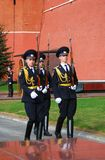 Change of the guard of honour, Moscow. MOSCOW - APRIL 23: Change of the Guard of Honour at the tomb of the Unknown Soldier at the wall of Moscow Kremlin on April Stock Photos