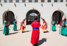 Change of the guard in Seoul Royal Palace Stock Images