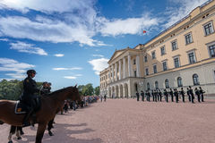 Change of Guards at Royal Palace Oslo Royalty Free Stock Image