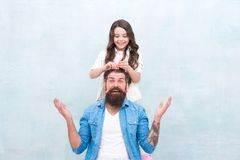 Change hairstyle. With healthy dose of openness any dad can excel at raising girl. Create funny hairstyle. Child making. Hairstyle styling father beard. Being royalty free stock image