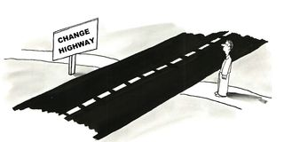 Change Highway. Man is considering taking the Change Highway Royalty Free Stock Photography