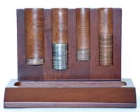 Change Holder. A dresser change and wallet holder with change Stock Photo