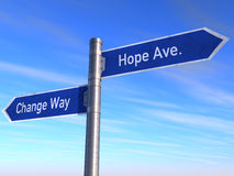 Change and Hope. Sign change and hope over blue sky Royalty Free Stock Image