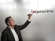 Change impossible to possible. Concept of change impossible to possible Stock Photography
