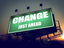 Change Just Ahead on Green Billboard. Stock Image