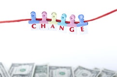 CHANGE LETTER PIECES AND MONEY Royalty Free Stock Images