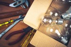 Change light bulb Stock Photography