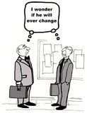 Change Management. Cartoon shows both men wondering the same thing, if the other one will ever change Stock Photography