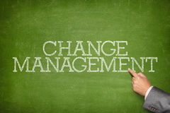 Change management text on blackboard Stock Images