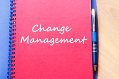 Change management write on notebook Stock Images