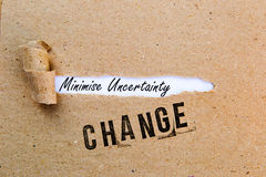 Change - Minimize Uncertainty - successful strategies for change Royalty Free Stock Photos
