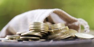 Change money banner of gold coins Stock Photos