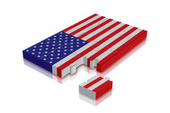 Change we need. American flag - 3d Render with Jigsaw Puzzle royalty free illustration