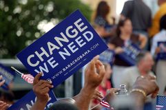 Change We Need. Placard being waved at an Obama rally in Bayfront Park,Miami,Florida