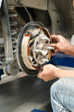 Change new brake pads Stock Photos