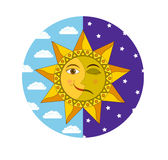 Solstice, Change of night and day. Smiling sun and sleeping moon in the circle of daytime blue sky and night indigo sky, vector royalty free illustration
