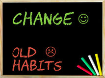 Change Old Habits. Message with sad and happy emoticon faces.Handwriting with chalk on wooden frame blackboard, colored chalk in the corner. Lifestyle change Royalty Free Stock Photography