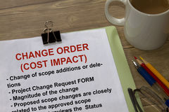 Change Order Cost Impact. Many uses in the oil and gas industry Stock Photo