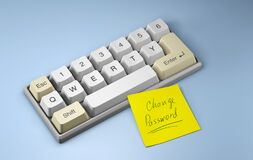 Change password. Keyboard with letters qwerty and yellow office sticker on a blue background. 3d render.