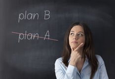 Change of Plan. Businesswoman crossing out Plan A and writing Plan B on the blackboard Royalty Free Stock Photography