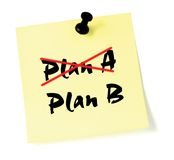 Change Plan Crossing out Plan A, writing B sticky  Royalty Free Stock Photography