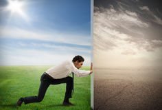 Change pollution with green environment Stock Images