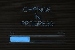 Change in progress and bar loading with caption. Change in progress conceptual illustration: progress bar loading with caption Stock Image