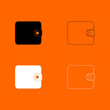 Change purse black and white set icon . Royalty Free Stock Images
