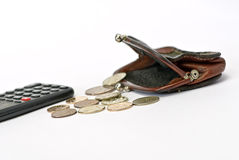 Change purse and coin Stock Image