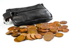 Change purse and coins royalty free stock images