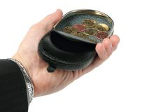 A change purse on a hand royalty free stock photo