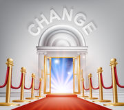 Change Red Carpet Door. An illustration of a posh looking door with red carpet and Change above it. Concept for positive change Stock Images