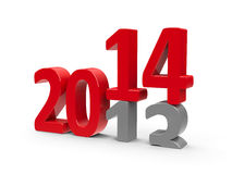 2013-2014. Change represents the new year 2014, three-dimensional rendering Stock Image