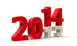 2013-2014. Change represents the new year 2014, three-dimensional rendering stock illustration