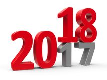 2017-2018 4. 2017-2018 change represents the new year 2018, three-dimensional rendering, 3D illustration Vector Illustration