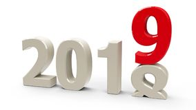 2018-2019. Change represents the new year 2019, three-dimensional rendering, 3D illustration Royalty Free Stock Image