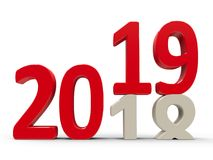 2018-2019 #3. 2018-2019 change represents the new year 2019, three-dimensional rendering, 3D illustration Stock Images