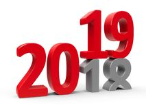 2018-2019 #4. 2018-2019 change represents the new year 2019, three-dimensional rendering, 3D illustration royalty free illustration