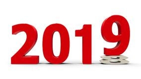2018-2019 flattened. 2018-2019 change represents the new year 2019, three-dimensional rendering, 3D illustration Royalty Free Stock Image