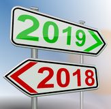2019 2018 change road sign red green 3d rendering royalty free illustration
