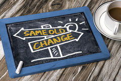 Change or same old choice on signpost hand drawing on blackboard. Change or same old choice concept on signpost hand drawing on blackboard royalty free stock photography