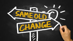 Change or same old choice on signpost hand drawing on blackboard Royalty Free Stock Photos