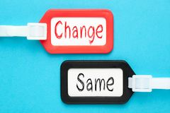 Change And Same. Written on luggage tags on blue background. Business concept stock photography