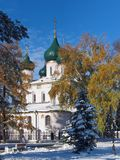 The change of seasons in Yaroslavl. In the fall the first snow fell and winter came Royalty Free Stock Photos