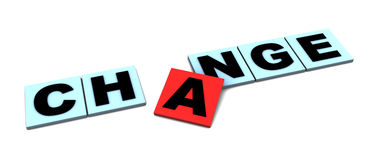 Change sign. Abstract 3d illustration of 'change' sign over white background Royalty Free Stock Photography